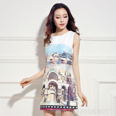 2015春款 欧洲站 高级成衣款 欧美风高端大牌印花连衣裙