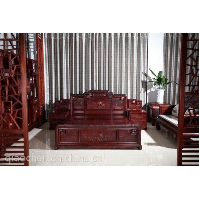 红酸枝 国色天香大床 卧室系列 港龙红木家私 古典中式家具图片 如何保养