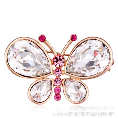 厂家直销锌合金胸针 女式丝巾扣 精美蝴蝶水晶胸花