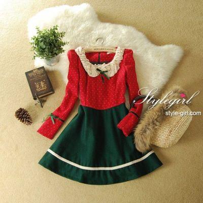 供应SJ61211圣诞新年连衣裙