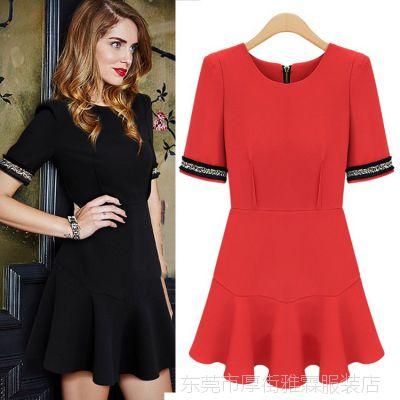 欧洲站2015夏季新款欧美女装圆领泡泡袖修身气质红色连衣裙2810