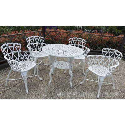 欧式风格 别墅花园桌椅 铸铝户外桌椅 休闲家具 老式情人五件套