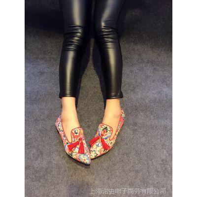 15年新款西家民族风流苏单鞋中口布鞋尖头平底鞋外贸女鞋子欧洲站