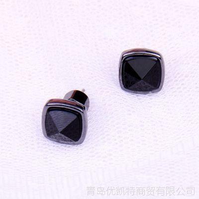 6119 青岛外贸首饰 欧美批发 MARC 黑色菱形宝石耳钉有其他色可选