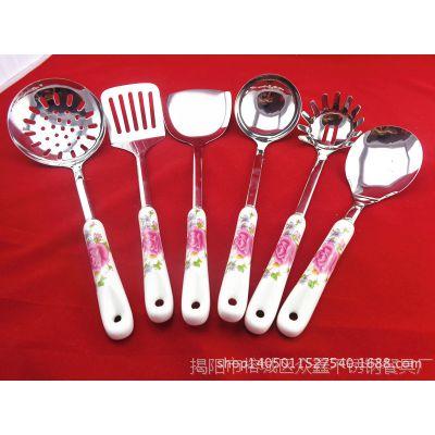 新品陶瓷柄不锈钢厨具套装 锅铲6件套厨房用品 烹饪工具