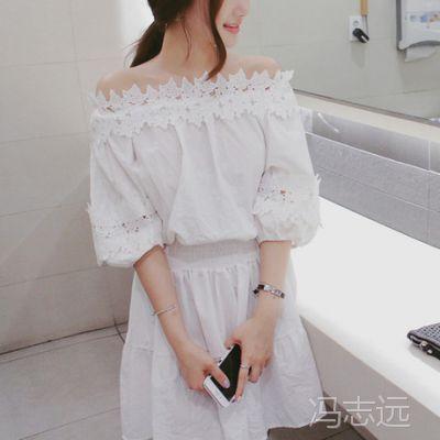 韩国东大门官网新款2015年夏季同款拼接蕾丝收腰显瘦甜美连衣裙