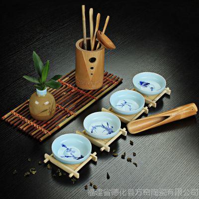 厂家批发 龙泉青瓷茶杯 茶具品茗杯 普洱茶杯 梅兰竹菊 LOGO定制