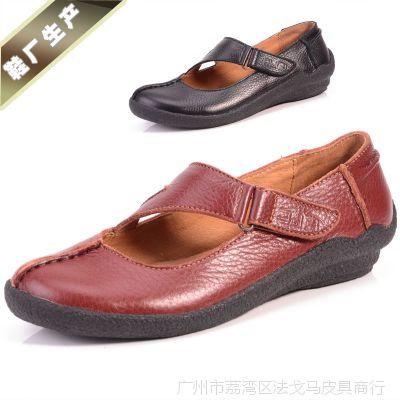 新款女式皮鞋牛皮女单鞋豆豆鞋妈妈鞋平底懒人鞋厂家批发代理