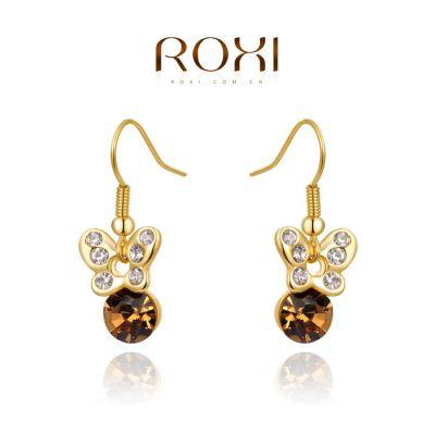 ROXI外贸畅销首饰手饰 速卖通热销耳饰香槟色蝴蝶耳坠一件代发