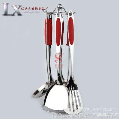 直销 不锈钢厨具 简爱之红礼品厨具套装 不锈钢烹饪厨具七件套