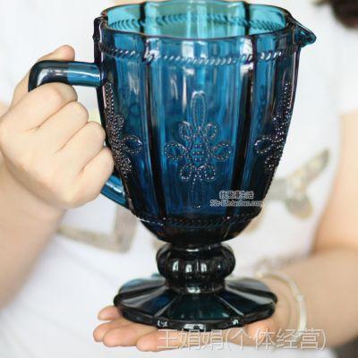 zakka 欧式蓝色复古浮雕玻璃冷水壶 果汁壶水杯子茶具特大号