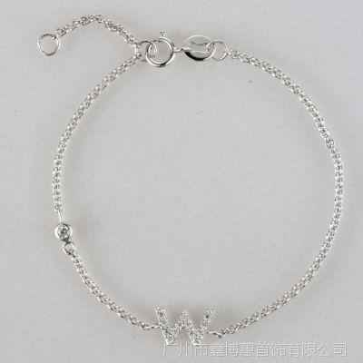 韩版新款925纯银时尚字母W男女手链银饰服饰配饰厂家批发