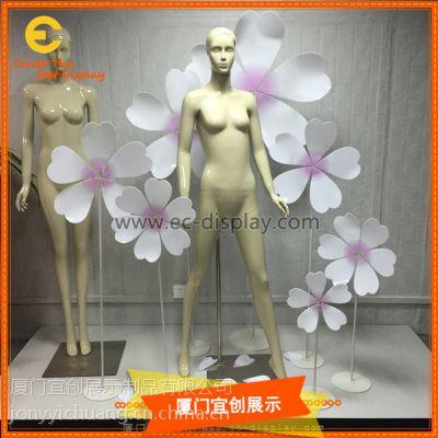 商场橱窗道具定制 服装展示道具亚克力花朵道具