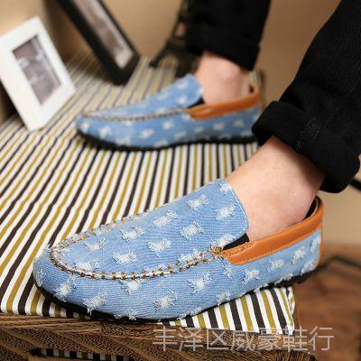 新款春夏英伦鞋子男潮流帆布男士日常韩版休闲皮鞋男豆豆鞋