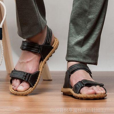 2015新款凉拖沙滩鞋 夏季男士凉鞋 夏天休闲男凉鞋真头层牛皮批发