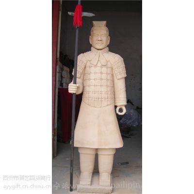 彩色兵马俑像摆件 陕西西安特色兵马俑秦始皇人像彩绘批发