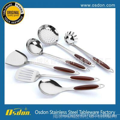 揭阳百仕顿不锈钢厨具 烹饪勺铲套件 木纹防烫手柄6件套厨具