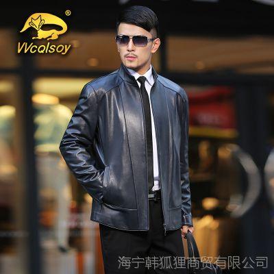 新款真皮皮衣男士单皮优质头层绵羊皮男式皮夹克皮草男装皮衣外套