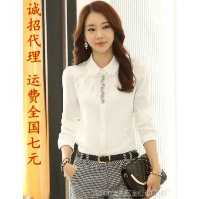 2014秋装新款女士职业白色衬衫韩版女长袖早秋雪纺衫 女职业长袖