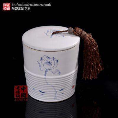 青花瓷生产厂家,陶瓷茶叶罐厂家,定做陶瓷罐子c042004