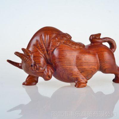 精致木制工艺品 黑檀草梨花牛摆件厂家直销 中国传统工艺雕刻品