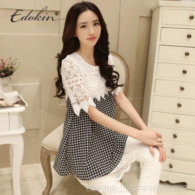 1170#新款韩版时尚孕妇上衣 宽松孕妇连衣裙大码女装蕾丝花边衫