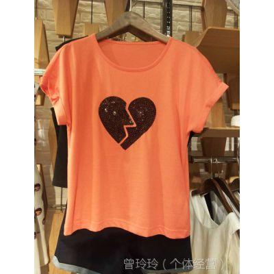 夏季新款时尚女装亮片心形图案圆领短袖纯棉T恤上衣