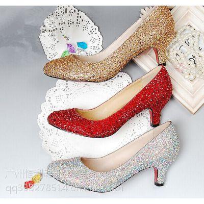 制鞋厂定做时装服饰婚鞋货源加工欧美外贸高跟鞋 时尚真皮女单鞋