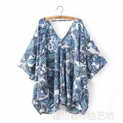 XZ0239RP 欧美风露背V领图腾印花蓝色宽松雪纺衫 夏季新款