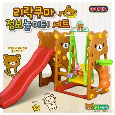 供应轻松熊滑梯秋千组合韩国正品儿童用品招批发加盟合作商-名门韩都