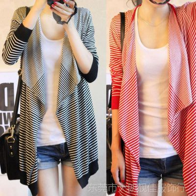 春秋新款韩版条纹空调衫开衫 女装大码毛衣外套披肩不规则针织衫