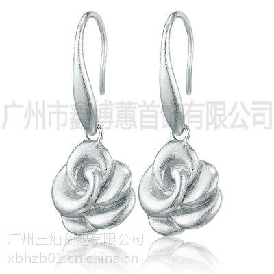925纯银素银花朵韩国韩版时尚耳环原创手工饰品定制
