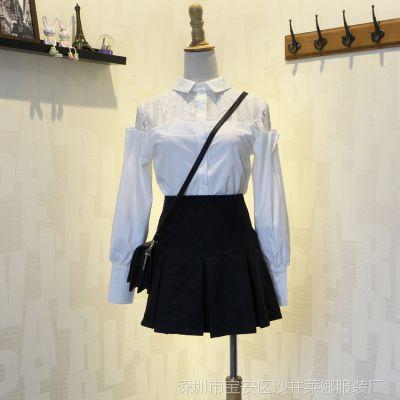 厂家实拍15秋季韩国雪纺衫 东大门雪纺拼接时尚长袖衬衫女8713