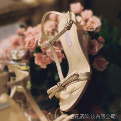 韩国出口东大门原单真皮坡跟柳钉蝴蝶结露趾高跟女凉鞋HM-016