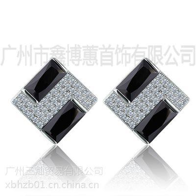 生日礼品定制925银方形耳环原创饰品加工纯银首饰