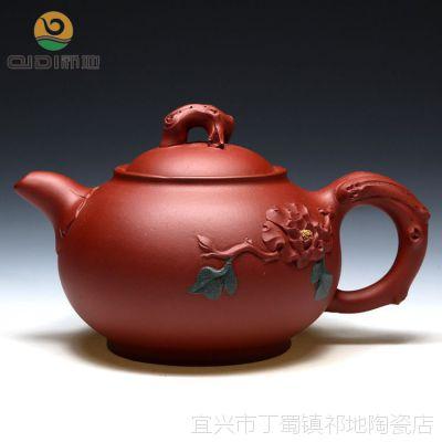 春节送礼正品茶壶 宜兴名家紫砂壶谢晓东全手工清水泥牡丹330cc