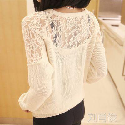 新款春秋装韩版宽松长袖女装性感蕾丝镂空打底衫 针织衫低领 毛衣