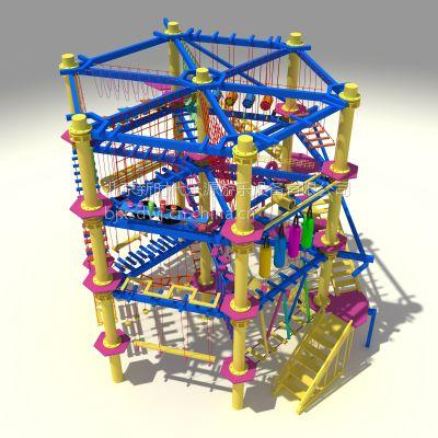 厂家直销海贝儿拓展 大型儿童拓展系类 儿童游乐设备冒险刺激攀岩 绳网探险项目 木质1127