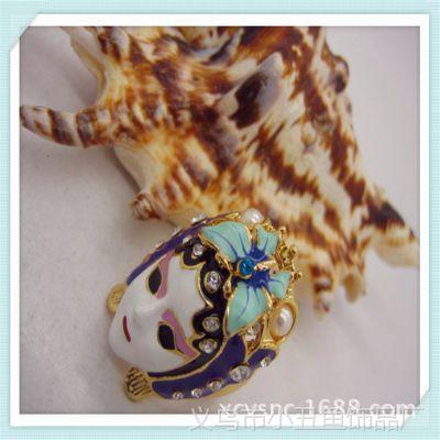 镶钻滴油中国风京剧脸谱面具彩釉潮人戒指指环女美人泪 时尚个性