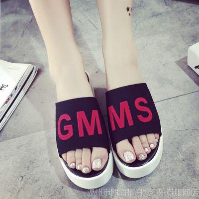 韩版字母2015夏季新款女式凉拖鞋子厚底松糕夹脚套趾高跟时尚百搭