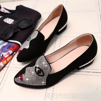 外贸新款时尚民族风进口磨砂皮尖头浅口镀金粗跟水钻头相图案女鞋