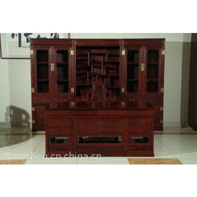 供应河南红木家具店 1.8米卷书办公桌 港龙红木 古典黑酸枝 然后保养家具