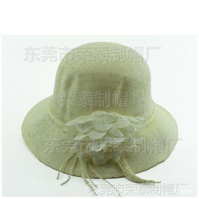 夏天韩版遮阳草帽拉菲草帽花朵 草编大沿盆帽夏季遮阳帽子女士
