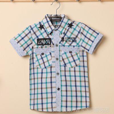 2015酷版男童衬衫批发 韩版大童翻领格子衫 品质男孩夏装短袖衬衣