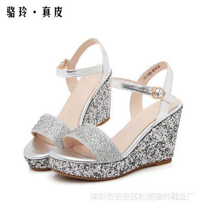 2015夏季新款坡跟凉鞋欧美真皮罗马粗跟甜美防水台厚底高跟女凉鞋