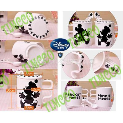供应迪士尼授权 雅诚德正品 米奇创意卡通情侣对杯马克杯带勺盖 8.0X10.0