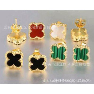 韩版时尚简约925银镀金四叶草带钻无钻款耳钉女饰品一件代发