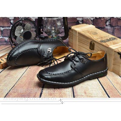 2016秋季新款男皮鞋时尚英伦手工缝制男鞋系带日常休闲鞋一件代发