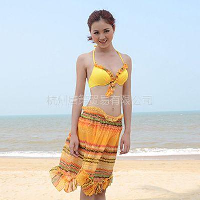 供应新款波西尼亚比基尼泳装 分体防晒四件套裙式沙滩装 性感聚拢泳衣