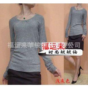 供应春装新款阿卡皱皱袖长袖低圆领羊绒衫针织衫修身毛衣打底衫厂家